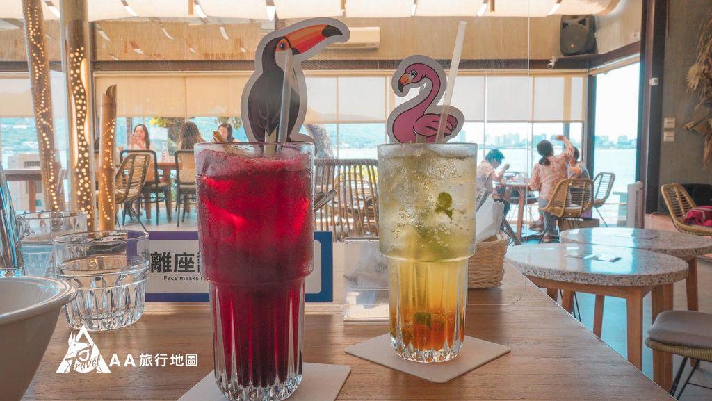 水灣餐廳榕堤我們今天的飲品,上面都有可愛的小動物