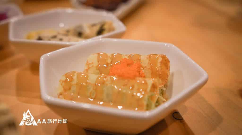 蟬說和社山林晚餐六品盛這一道吃起來蠻爽口的,明太子加上內餡的高麗菜絲,爽快