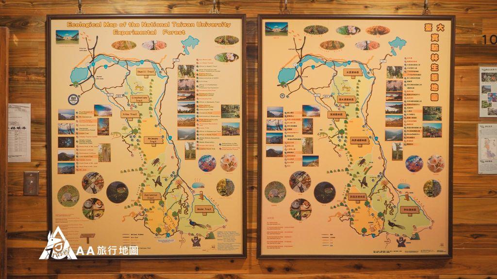 蟬說和社山林玻璃樓房一進門也有兩個地圖介紹附近的景點和一些生態